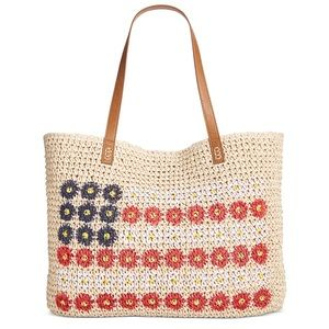 Style & Co Daisy Flag Straw Tote Natural Beige Bag